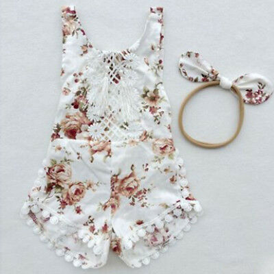 AU Newborn Baby Girl Floral Clothes Jumpsuit Romper Bodysuit Headband Outfit Set