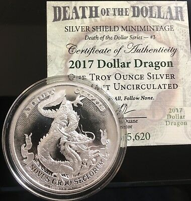 1 oz 2017 Dollar Dragon BU - Death of the Dollar # 3 Silver Shield NWO MASON 999