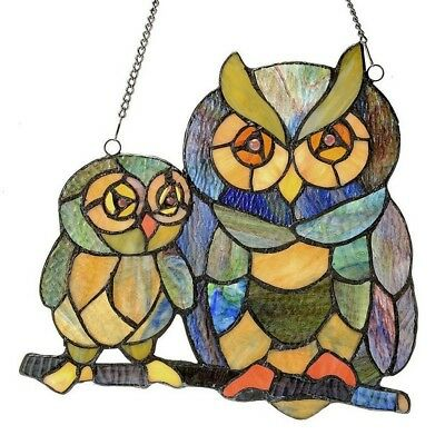 Stained Glass Art Owl Window Panel Panels Hanging 11 Inch Tiffany Style Decor