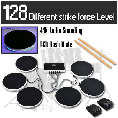 Portable Electronic Drum Kit 6 Pieces Set Pad Pedals Musical Digital Instruments