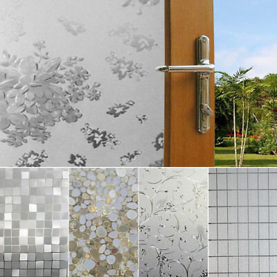 Waterproof  Door Bathroom Sandblast Clear Privacy  Frosting  Glass Removable