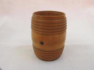 "ANTIQUE VICTORIAN TURNED TREEN BOXWOOD ""BARREL"" MATCH VESTA STRIKER HOLDER c1880"