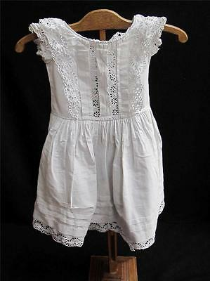 ANTIQUE VICTORIAN EMBROIDERED WHITEWORK COTTON YOUNG CHILD'S DRESS GOWN c1870