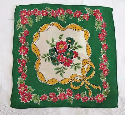VINTAGE 1930's PRINTED HANDKERCHIEF HANKY - GREEN RED & YELLOW FLOWERS