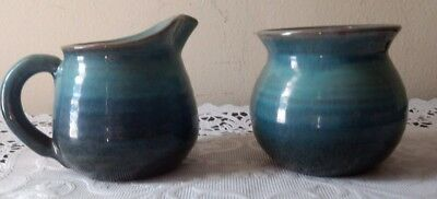 Rowantree Studio Pottery Sea foam Blue Creamer and Sugar Bowl EUC