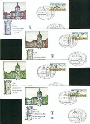 Berlin set with14 ATM FDC 4.5.1987 Automatenmarken em53