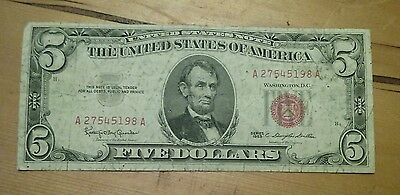 1963 $5 Five Dollar Bill, Red Seal United States Note US Currency, Circulated