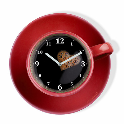 Modern Red Large Wall Clock Home Decoration Kitchen  Living Room Silent Cup