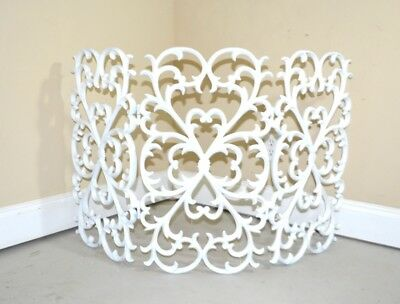 White Cast Iron Scrollwork Fleur des Li Hinged 3 Piece Fireplace Screen Gorgeous