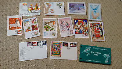 Isle of Man Manx First Day Covers Christmas Cards Stamps 1979-1996 x 14