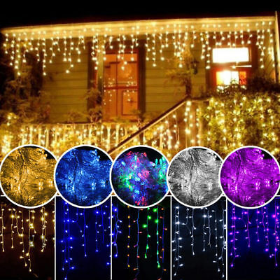 300 LED Fairy String Hanging Icicle Snowing Curtain Light Outdoor Xmas Party
