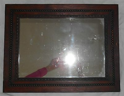 Antique English Carved Oak Beveled WALL MIRROR Arts & Crafts Jacobean