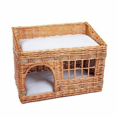 Woven Cat Small Dog House Snuggle Den Bed Home 2 Storey With Cushions Beige NEW