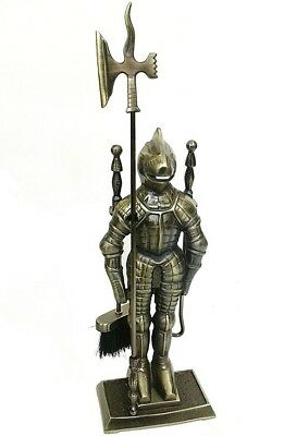 Middle Ages Knight Fireplace Tools Set Durable Cast Iron Antique Figure 21'' H