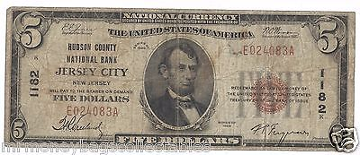 $5.00 Circulated 1929 NATIONAL BANK NOTE Jersey City, NJ. T1 Charter #1182