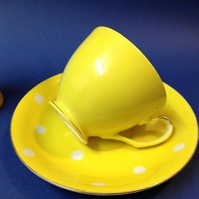 Polka Dot Retro Cup & Saucer Duo - Made in Japan - Yellow -by Superior Quality