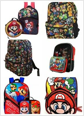 Super Mario School Backpack Lunch Box Book Bag Combo SET