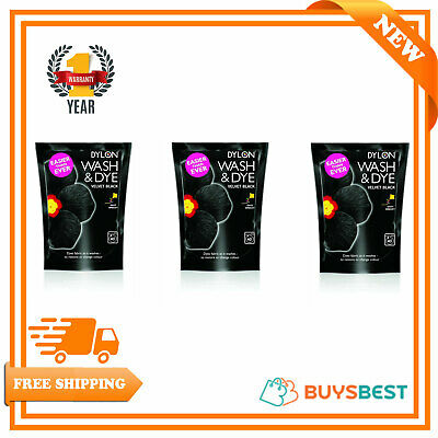 3 x Dylon 350g Velvet Black Machine Wash & Dye Fabric Clothes Colour Dye