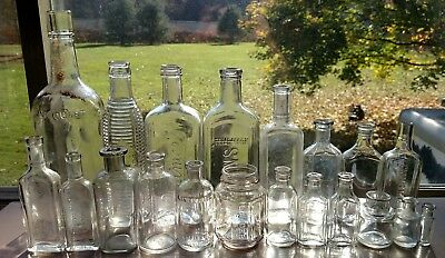 Lot of twenty vintage medicine polish extract ink food pill whiskey pop bottles