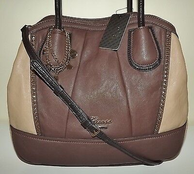 New Guess Corinna Satchel Handbag With Removable Crossbody Strap Taupe Multi 1b99a51d9df17