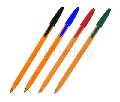 Bic Orange Pens Fine PACK OF BLACK, BLUE, RED & GREEN Ballpoint 0.8 *SELECT QTY*