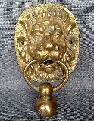 Big antique french lion door knocker early 1900's made of bronze 3lb
