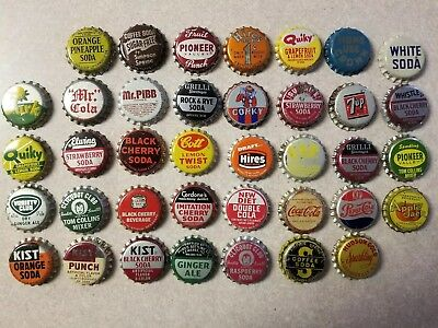 Vintage Cork Back Soda Pop Bottle Tops Caps Lot of 38