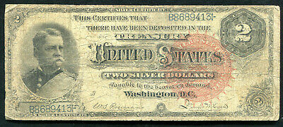 """Fr. 242 1886 $2 Two Dollars """"Hancock"""" Silver Certificate Currency Note"""