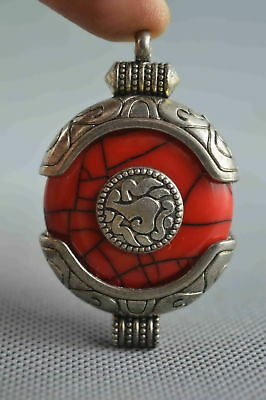 Collectable Handwork Decor Old Miao Silver Carve Flower Inlay Agate Evil Pendant
