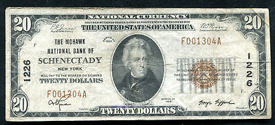 1929 $20 The Mohawk Nb Of Schenectady, Ny National Currency Ch. #1226