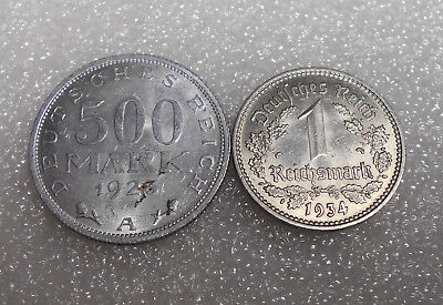 2 Circulated Coin 500 Mark 1923 , 1 Reichsmark 1934 Germany