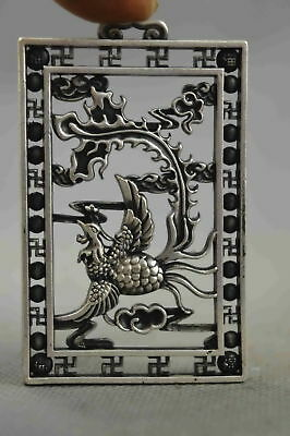 Collectable Handmade Miao Silver Carve Royal Family Phoenix Lucky Noble Pendant