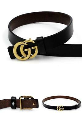 """Womens Genuine Leather Thin Belt For Jeans 0.9"""" Pants """"GG"""" Stylish Letter Buckle"""