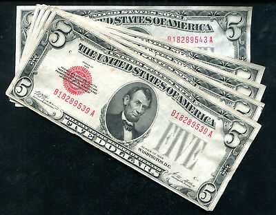 (5) Consecutive 1928 $5 Red Seal Legal Tender United States Notes