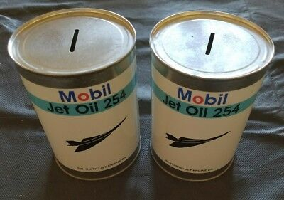 2 mobil jet oil can banks