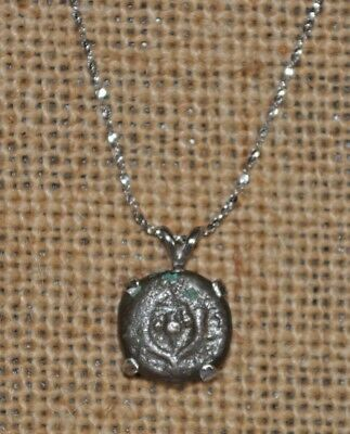 Ancient Jewish Maccabean Authentic Bronze Coin 925 Sterling Silver Necklace