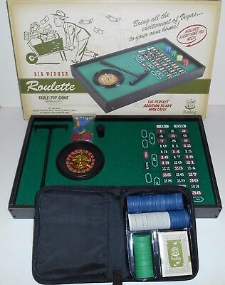 Wembley Wooden Roulette Table Top Game With Poker Cards, Chips New Old Stock