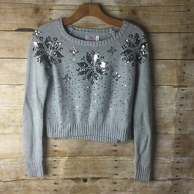 Justice Gray Sequin Snowflake Sweater Size Girls 14