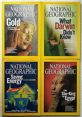 4 x National Geographic Magazine January, February, March & April 2009