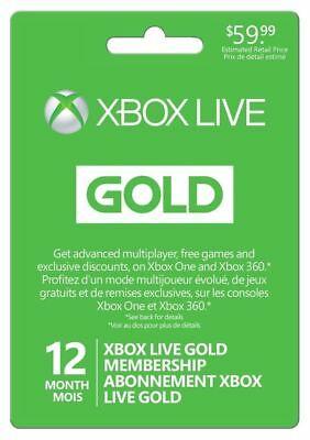 Microsoft Xbox LIVE 12 Month Gold Membership for Xbx 360 / XBX 1 Email delivery