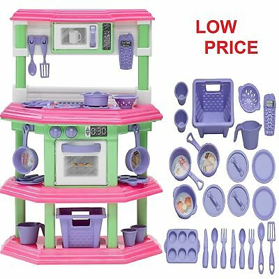 PRETEND KITCHEN PLAY Set for Kids Cooking Food Toy Plastic Toddler ...