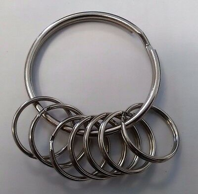 1 LARGE JAILERS HEAVY DUTY 76mm SPLIT RING...KEYRING HOLDER,HOLDS OVER 30 KEYS