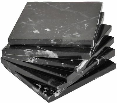 6 Black Natural stone marble Coasters Handmade with soft velvet at the bottom