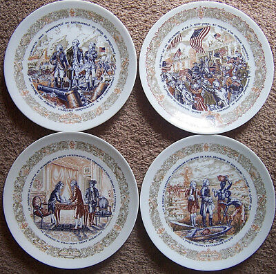 """4set LIMOGES France 8"""" plates French-American Scenes of 1777 Revolution War/Peac"""
