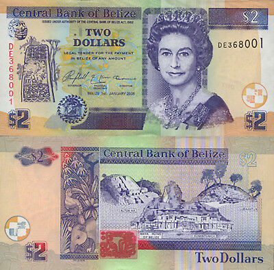 Belize 2 Dollars (01.01.2005) - QEII/Animals/Ruins/p66b UNC