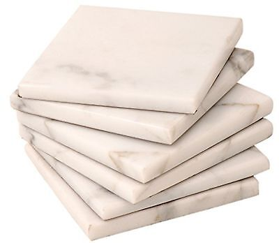 6 White Natural stone marble Coasters Handmade with soft velvet at the bottom