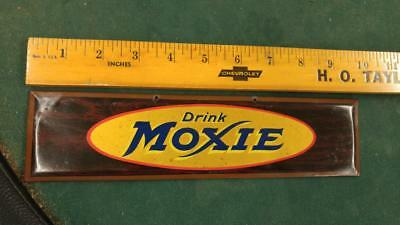 SMALL RARE DRINK MOXIE SODA TIN-OVER-CARDBOARD SIGN-LOWELL MASS-10x2.5-NICE!!