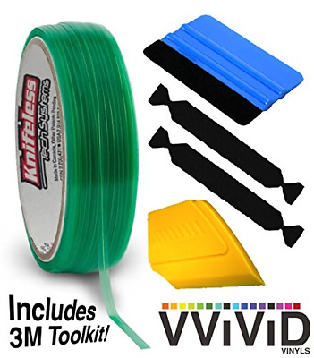 Knifeless Vinyl Wrap Cutting Tape Finishing Line 10M Plus 3M Toolkit (Squeegee,