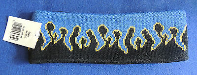 Boys' Double Layered Knit Winter Headband Blue Black Gold One Size Polyester NWT