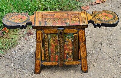 Persian Islamic painted small table chest Pictorial Figural decorations wooden